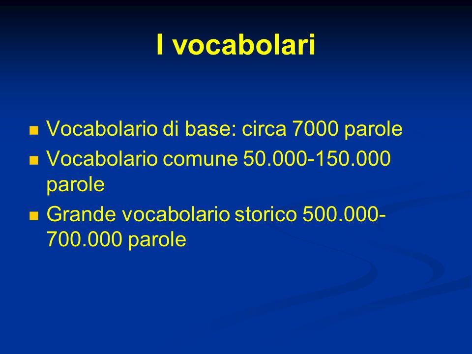 I vocabolari Vocabolario di base: circa 7000 parole