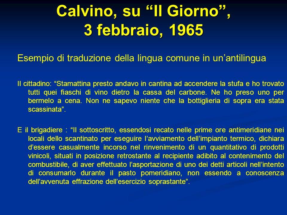 Calvino, su Il Giorno , 3 febbraio, 1965