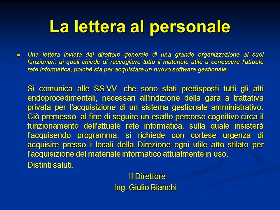 La lettera al personale