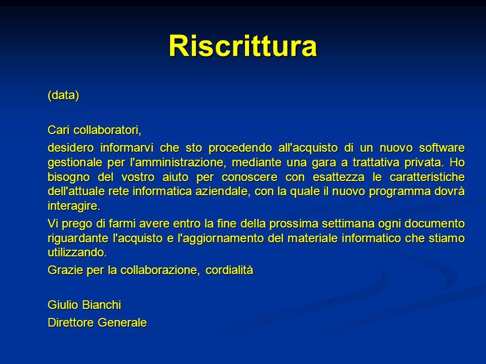 Riscrittura (data) Cari collaboratori,