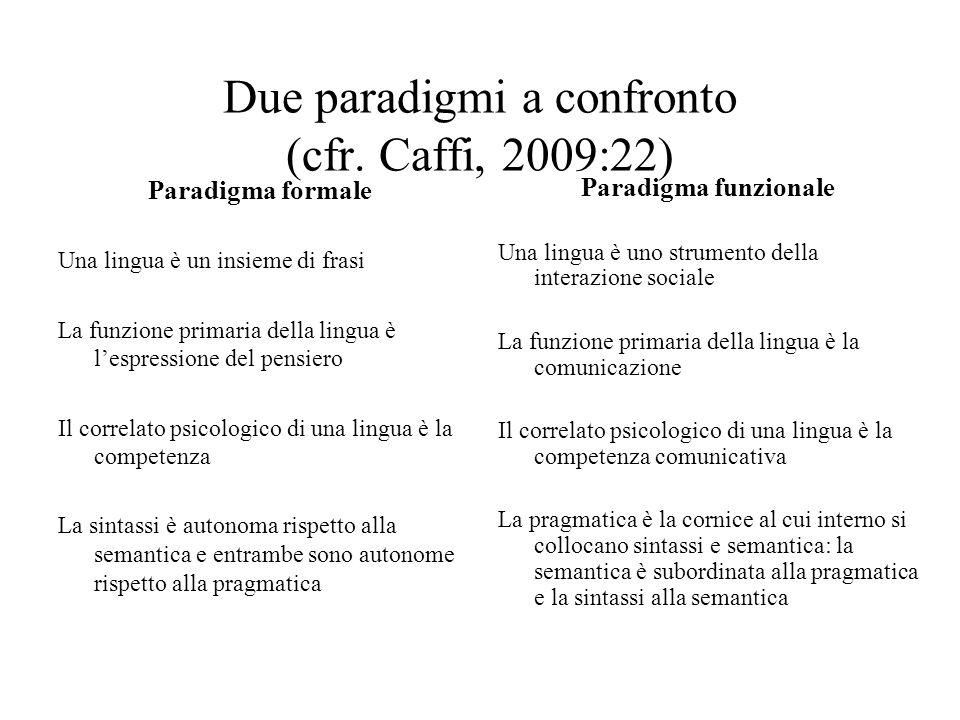 Due paradigmi a confronto (cfr. Caffi, 2009:22)