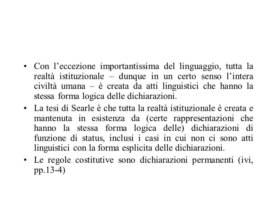 Con l'eccezione importantissima del linguaggio, tutta la realtà istituzionale – dunque in un certo senso l'intera civiltà umana – è creata da atti linguistici che hanno la stessa forma logica delle dichiarazioni.