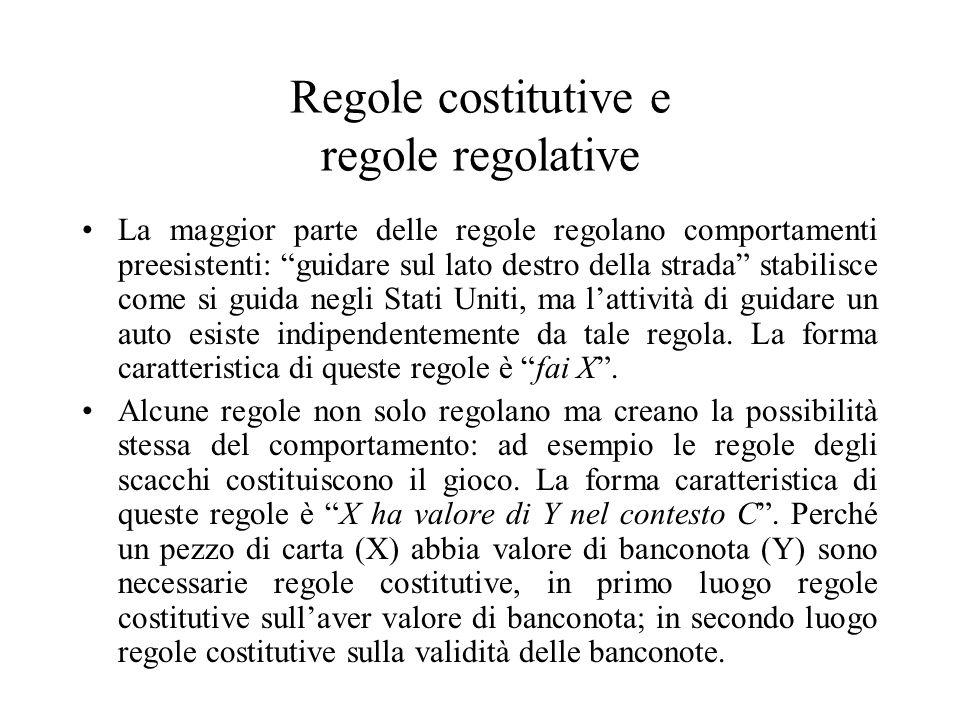 Regole costitutive e regole regolative
