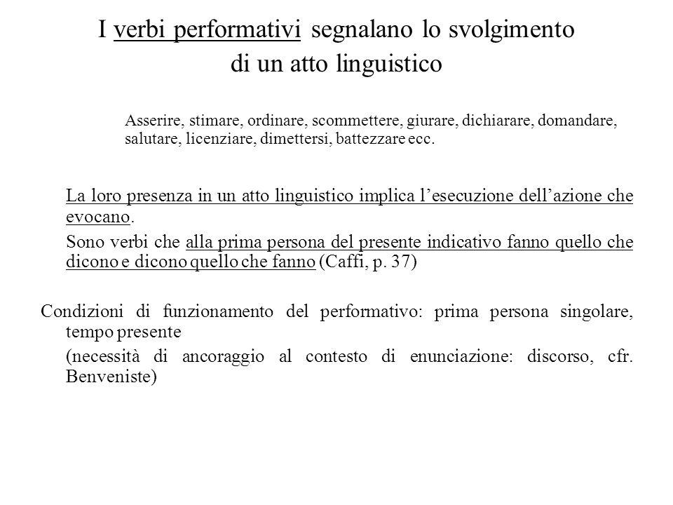 I verbi performativi segnalano lo svolgimento