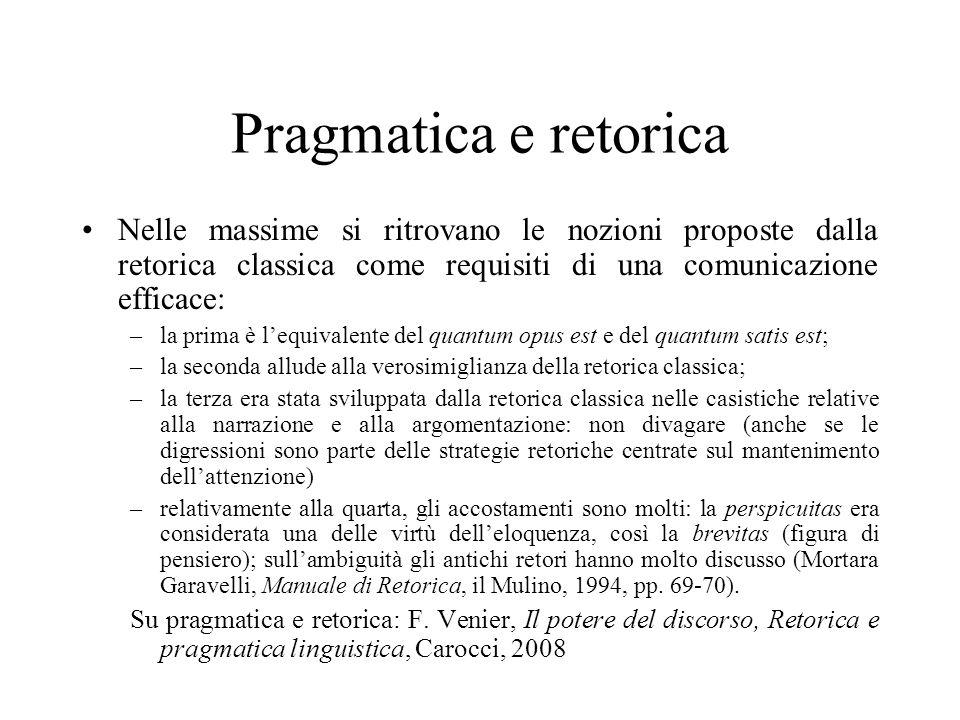 Pragmatica e retorica Nelle massime si ritrovano le nozioni proposte dalla retorica classica come requisiti di una comunicazione efficace: