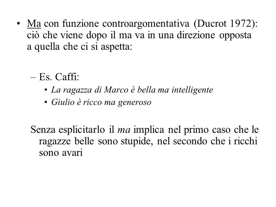 Ma con funzione controargomentativa (Ducrot 1972): ciò che viene dopo il ma va in una direzione opposta a quella che ci si aspetta: