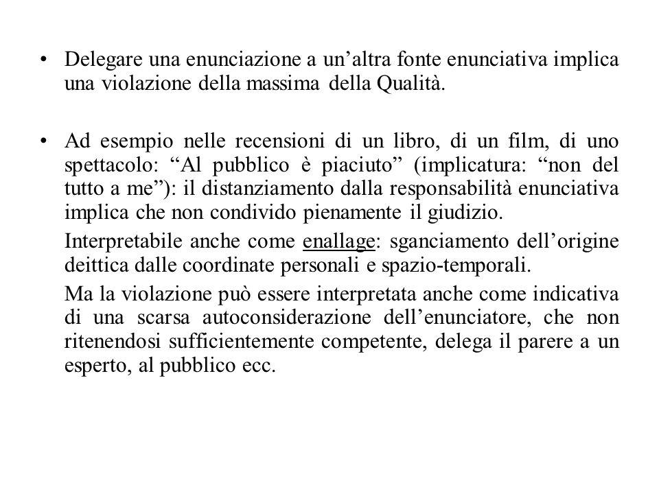 Delegare una enunciazione a un'altra fonte enunciativa implica una violazione della massima della Qualità.