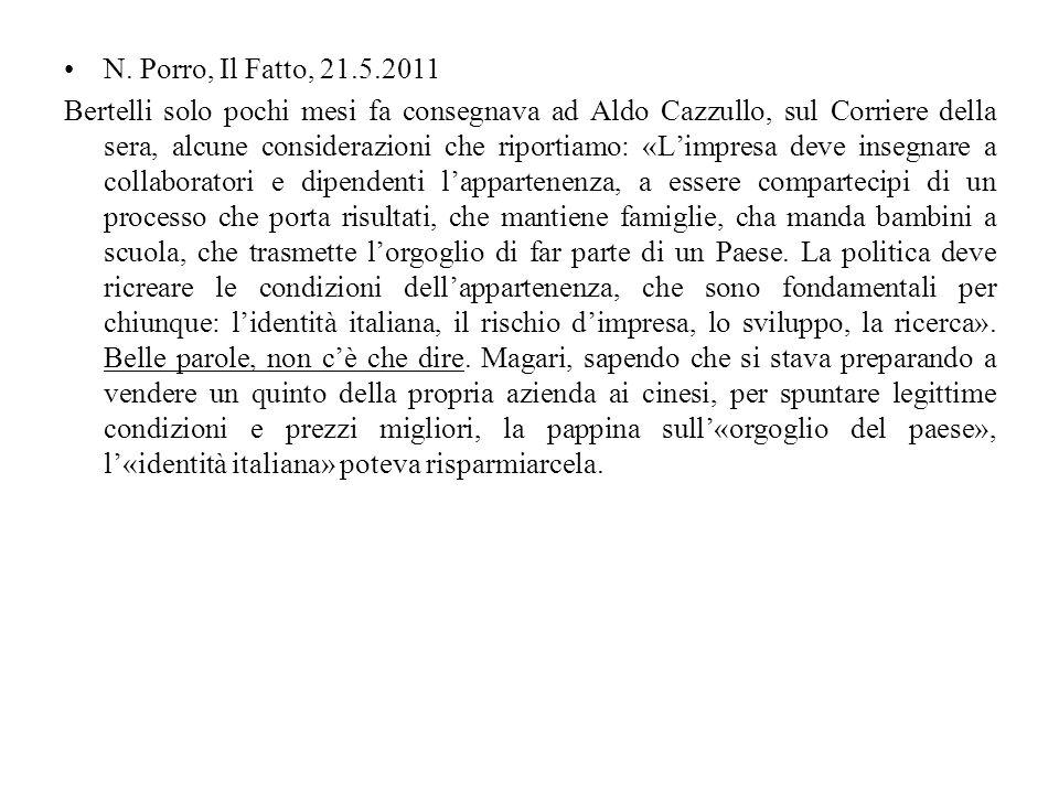 N. Porro, Il Fatto, 21.5.2011
