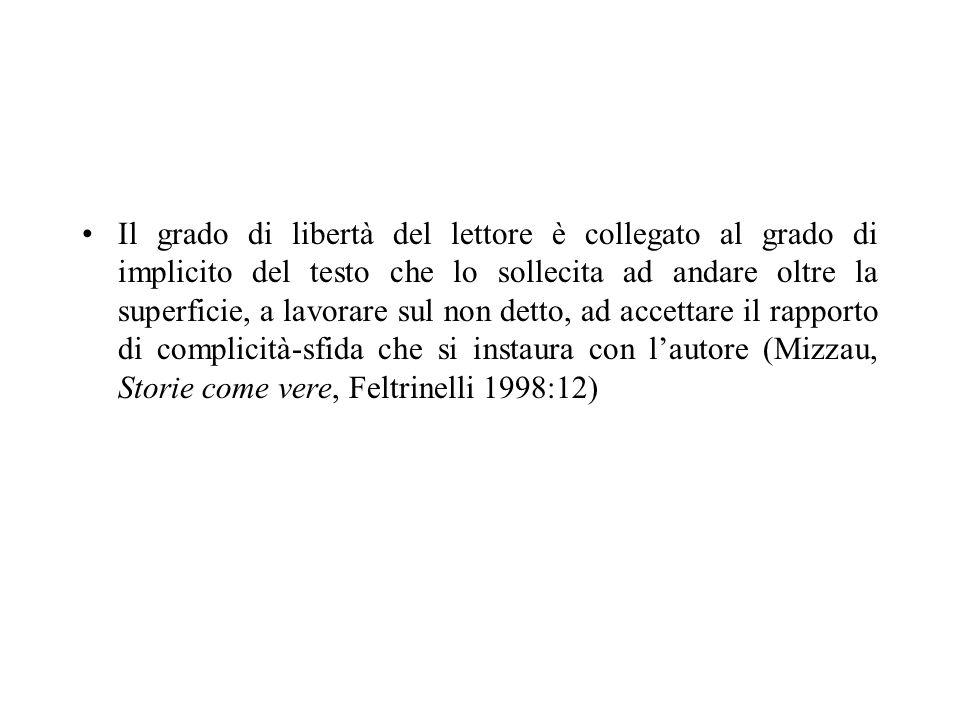 Il grado di libertà del lettore è collegato al grado di implicito del testo che lo sollecita ad andare oltre la superficie, a lavorare sul non detto, ad accettare il rapporto di complicità-sfida che si instaura con l'autore (Mizzau, Storie come vere, Feltrinelli 1998:12)