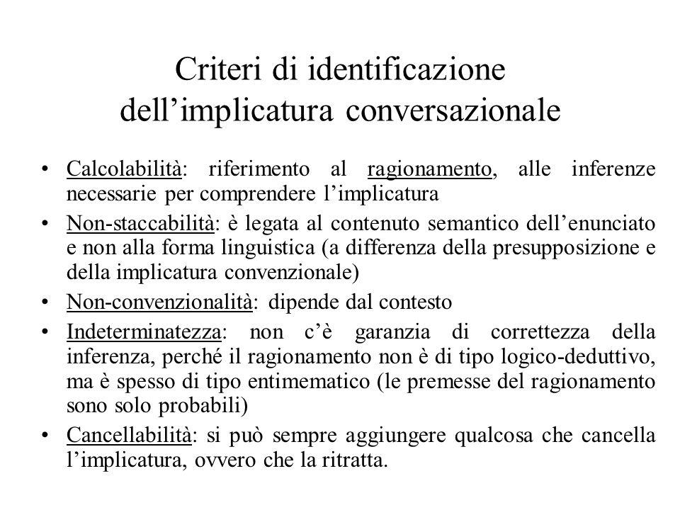 Criteri di identificazione dell'implicatura conversazionale