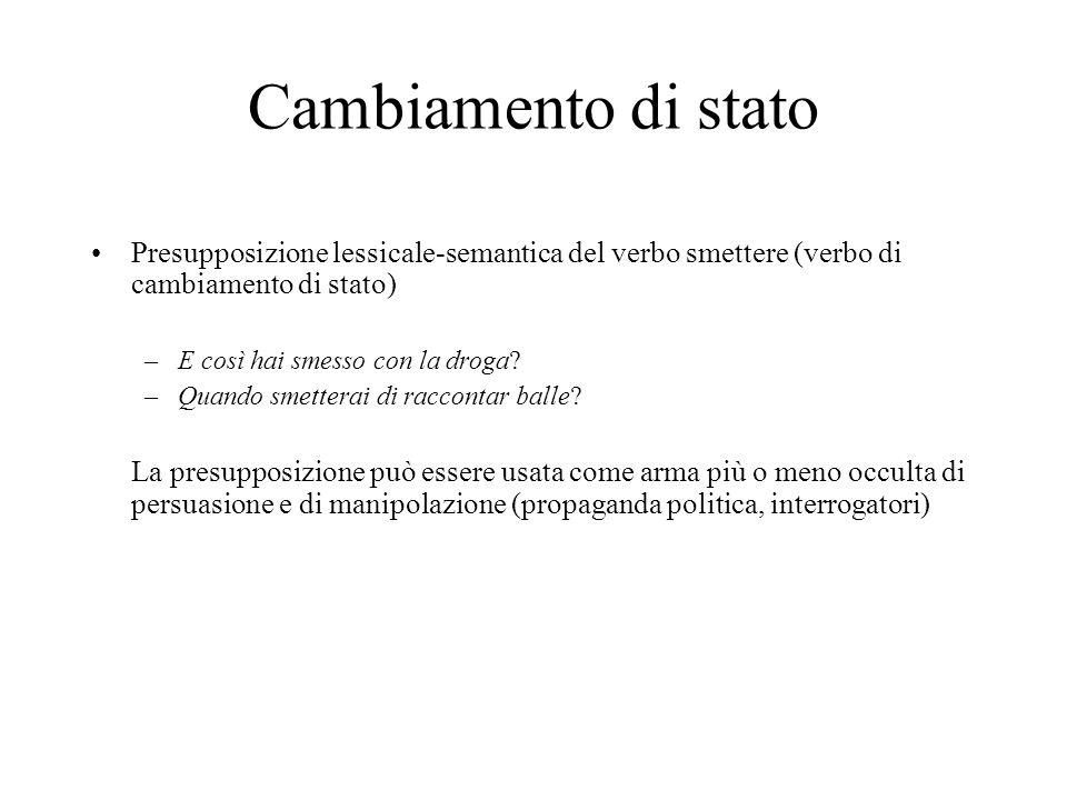 Cambiamento di stato Presupposizione lessicale-semantica del verbo smettere (verbo di cambiamento di stato)