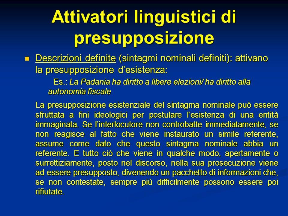Attivatori linguistici di presupposizione