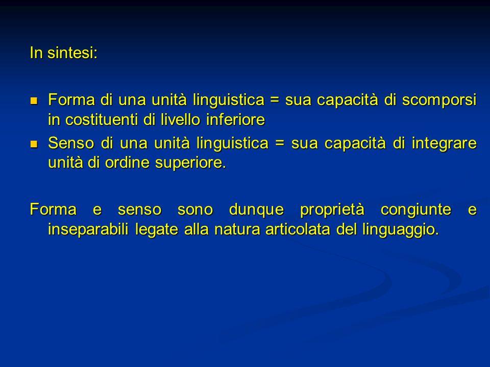 In sintesi: Forma di una unità linguistica = sua capacità di scomporsi in costituenti di livello inferiore.