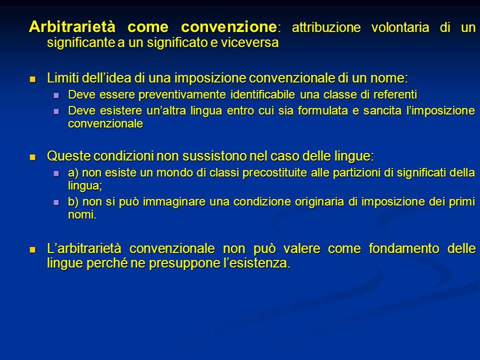 Arbitrarietà come convenzione: attribuzione volontaria di un significante a un significato e viceversa