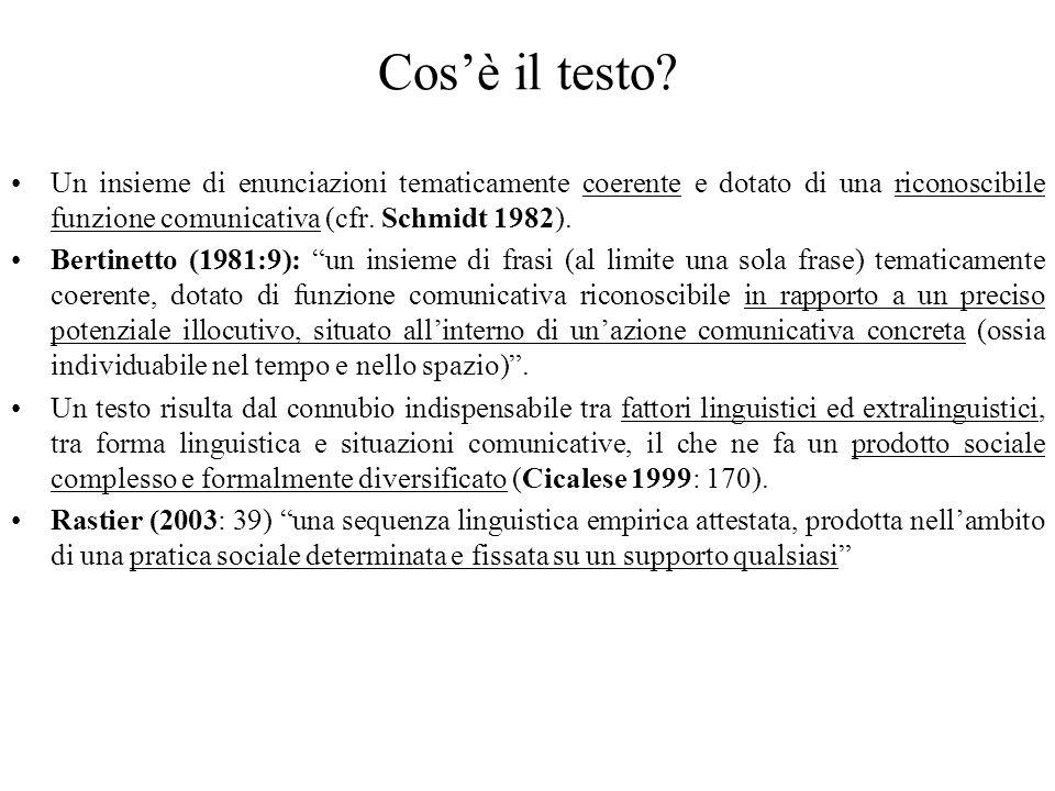 Cos'è il testo Un insieme di enunciazioni tematicamente coerente e dotato di una riconoscibile funzione comunicativa (cfr. Schmidt 1982).