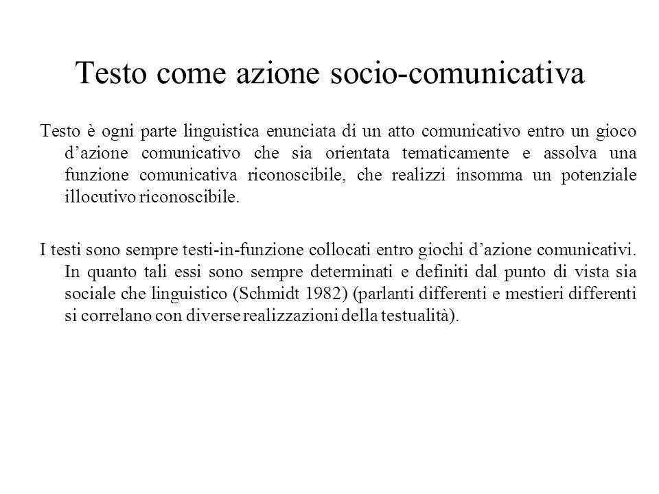 Testo come azione socio-comunicativa