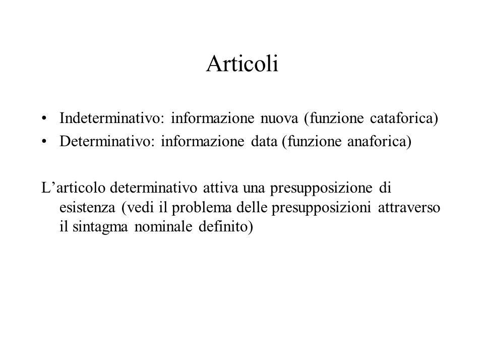 Articoli Indeterminativo: informazione nuova (funzione cataforica)
