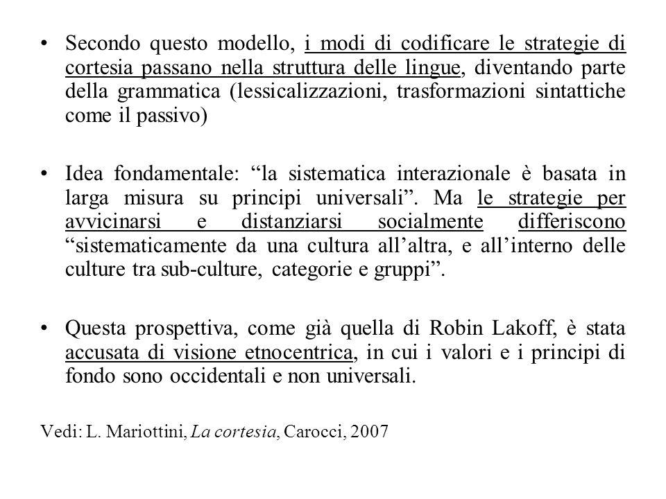 Secondo questo modello, i modi di codificare le strategie di cortesia passano nella struttura delle lingue, diventando parte della grammatica (lessicalizzazioni, trasformazioni sintattiche come il passivo)