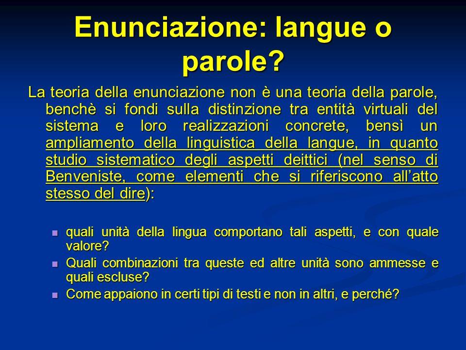 Enunciazione: langue o parole