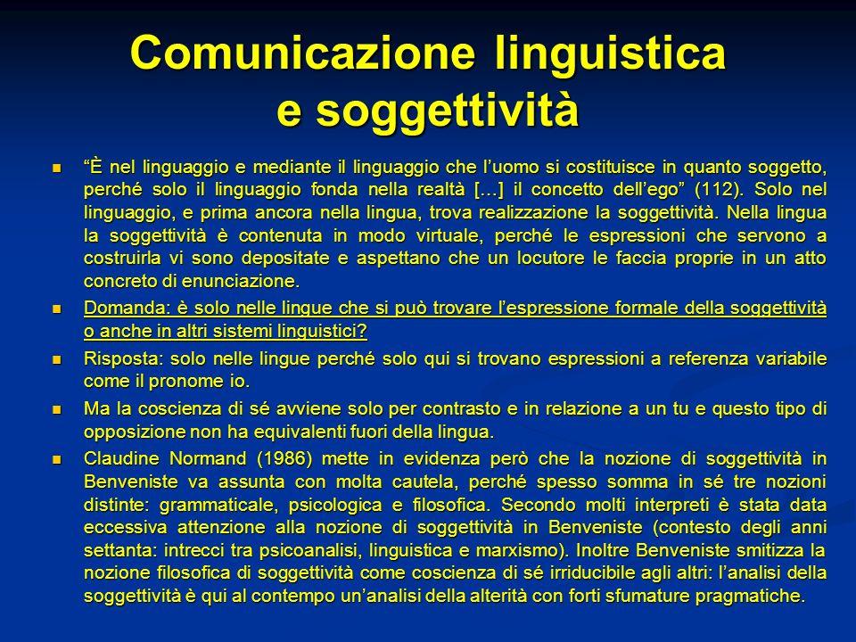 Comunicazione linguistica e soggettività