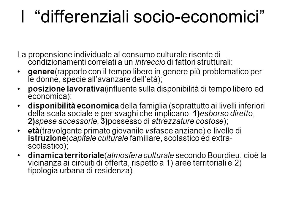 I differenziali socio-economici