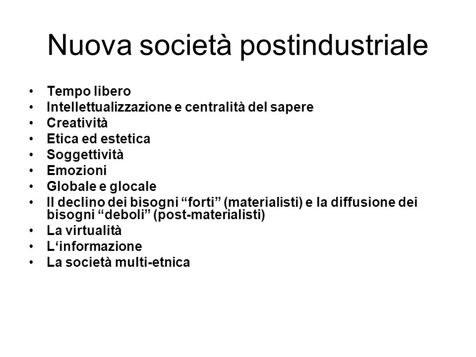 Nuova società postindustriale