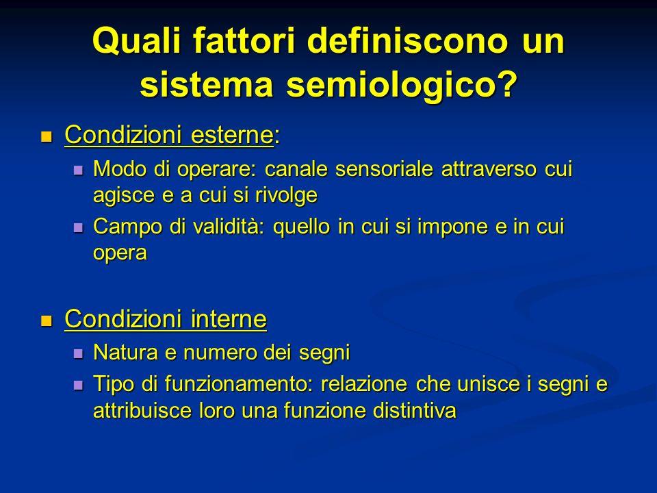 Quali fattori definiscono un sistema semiologico