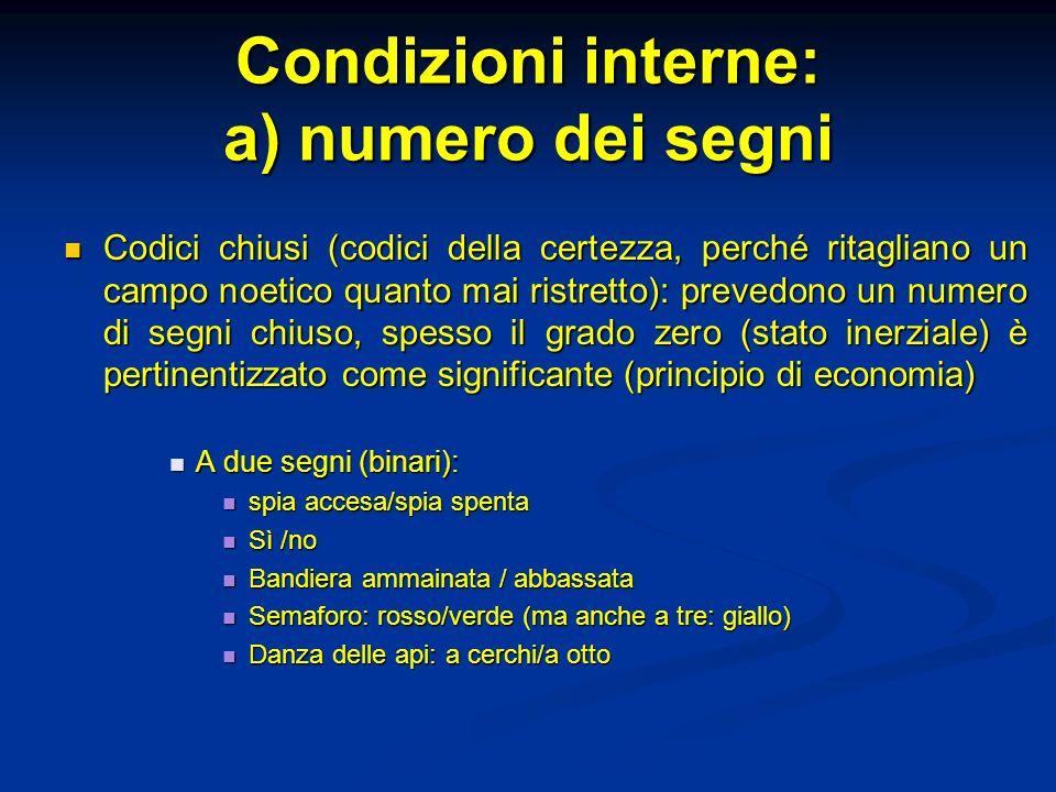 Condizioni interne: a) numero dei segni