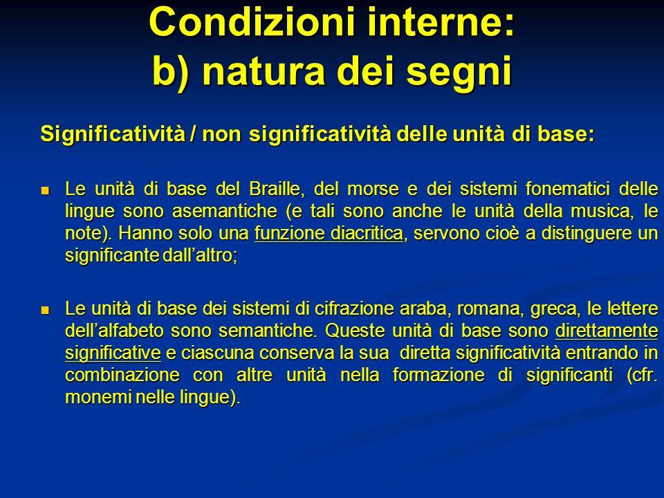 Condizioni interne: b) natura dei segni