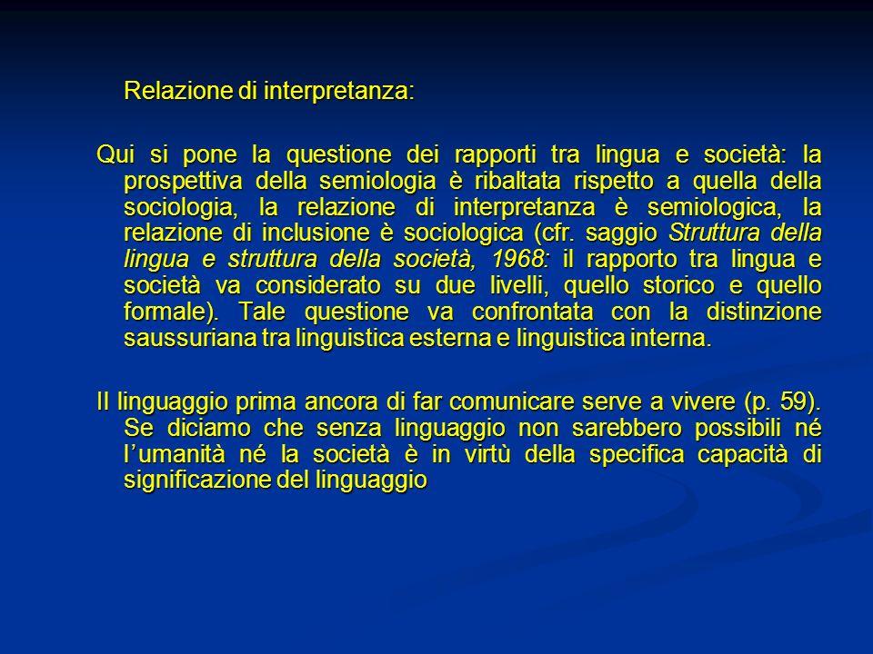 Relazione di interpretanza: