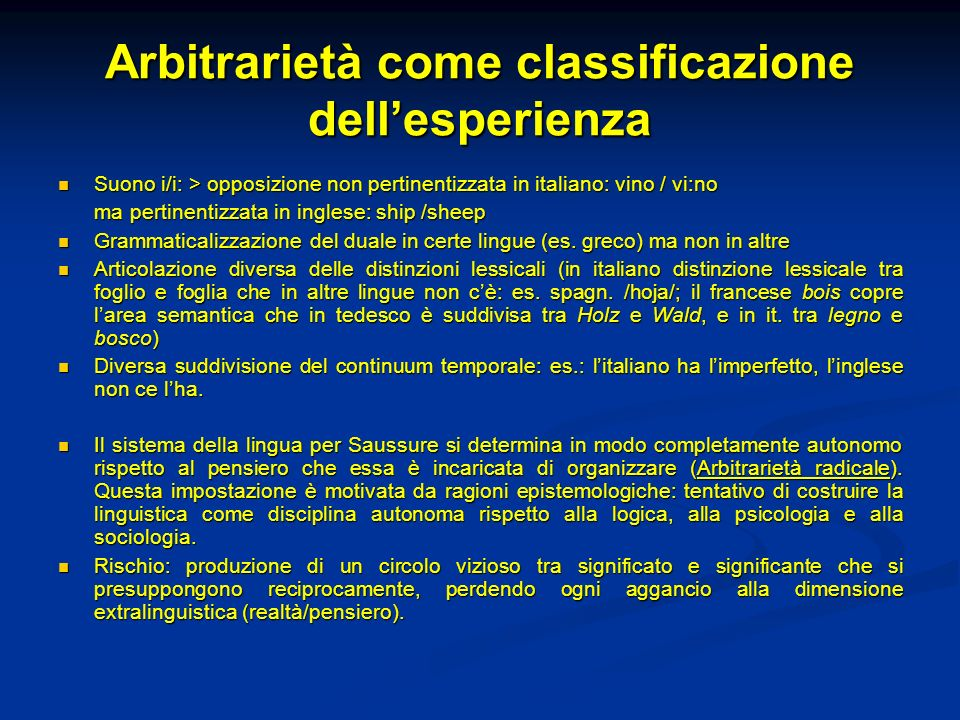 Arbitrarietà come classificazione dell'esperienza