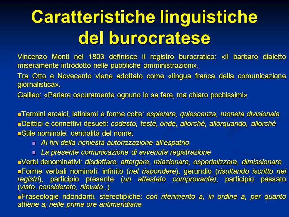 Caratteristiche linguistiche del burocratese
