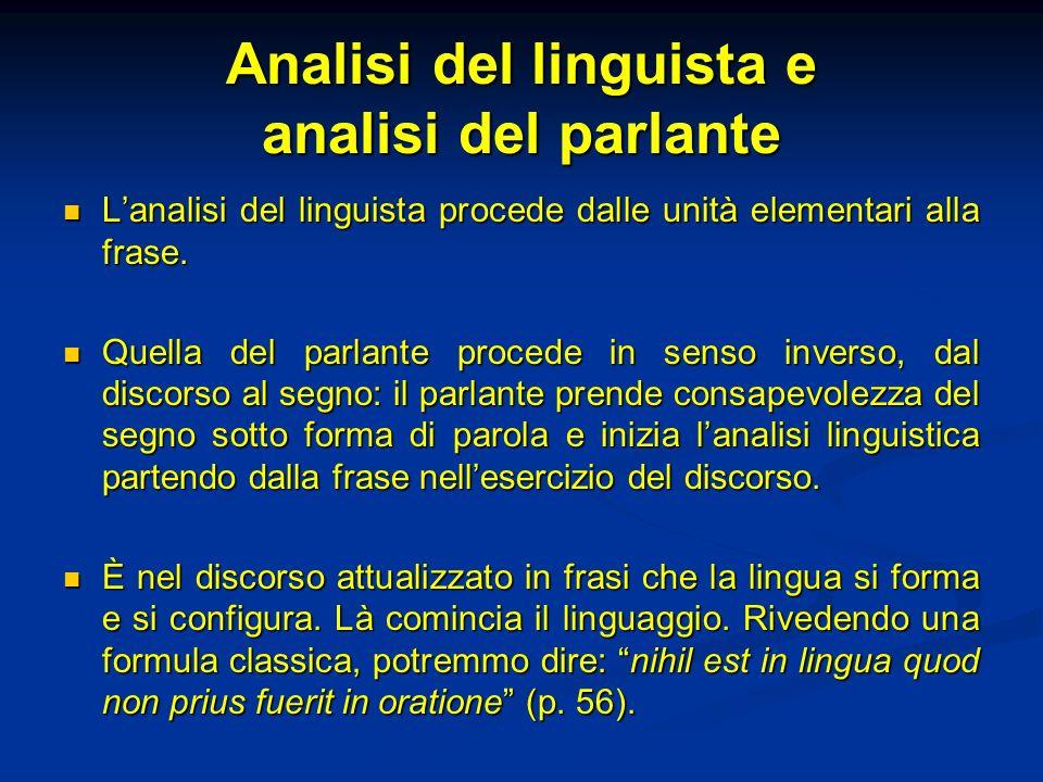 Analisi del linguista e analisi del parlante