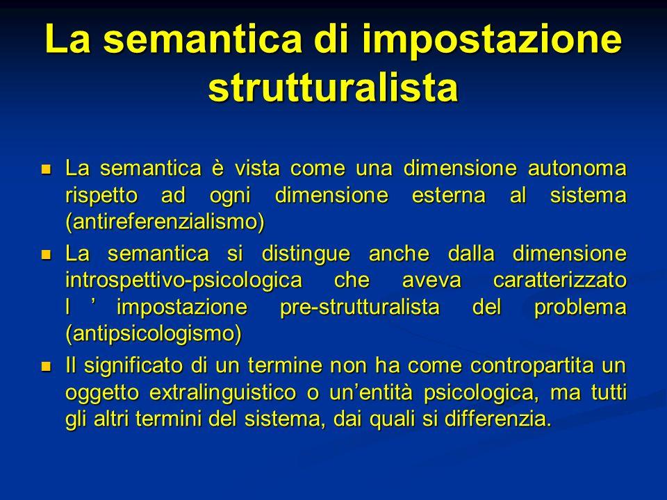 La semantica di impostazione strutturalista