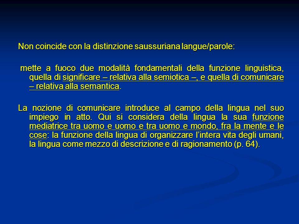 Non coincide con la distinzione saussuriana langue/parole: