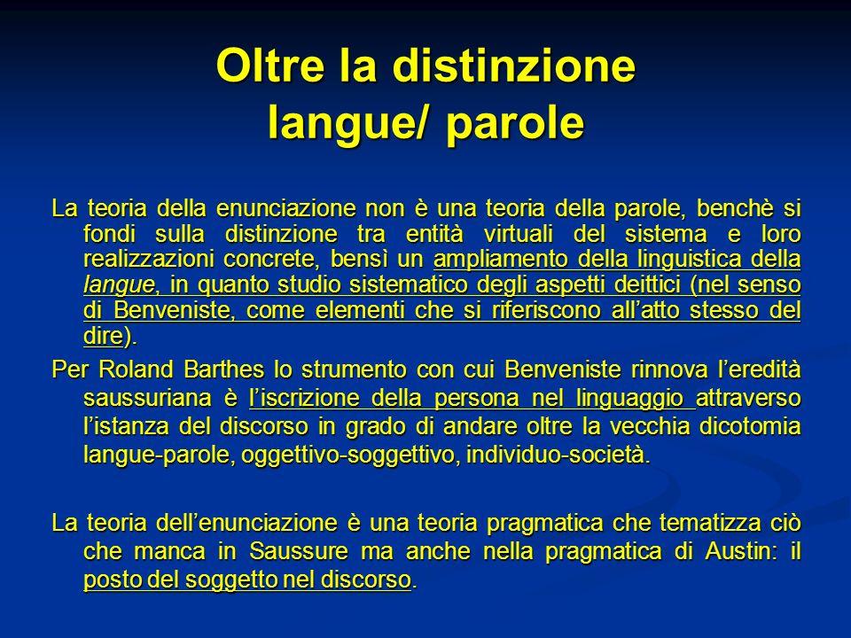 Oltre la distinzione langue/ parole