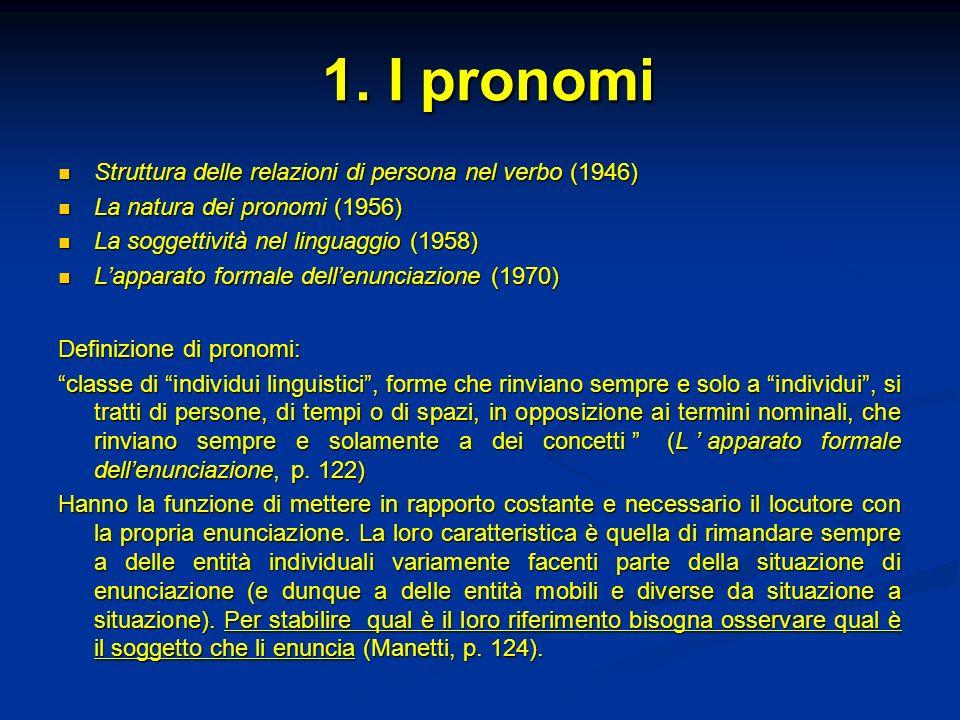 1. I pronomi Struttura delle relazioni di persona nel verbo (1946)