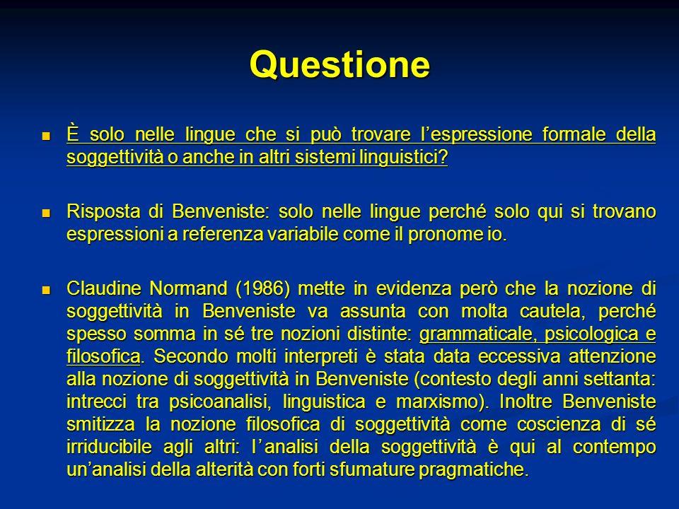 Questione È solo nelle lingue che si può trovare l'espressione formale della soggettività o anche in altri sistemi linguistici