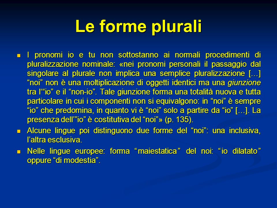 Le forme plurali