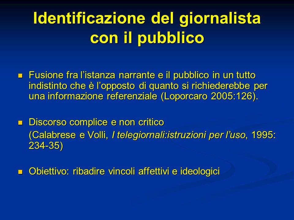 Identificazione del giornalista con il pubblico