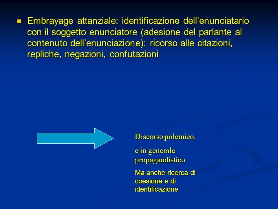 Embrayage attanziale: identificazione dell'enunciatario con il soggetto enunciatore (adesione del parlante al contenuto dell'enunciazione): ricorso alle citazioni, repliche, negazioni, confutazioni