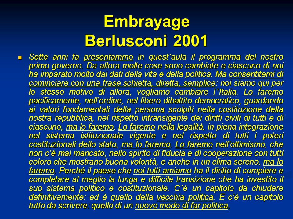 Embrayage Berlusconi 2001
