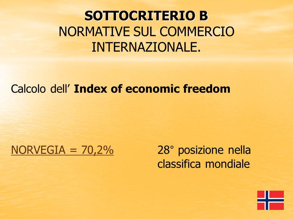 SOTTOCRITERIO B NORMATIVE SUL COMMERCIO INTERNAZIONALE.
