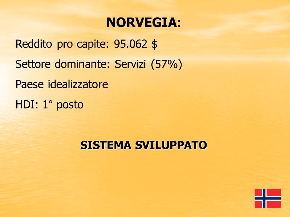 NORVEGIA: Reddito pro capite: 95.062 $