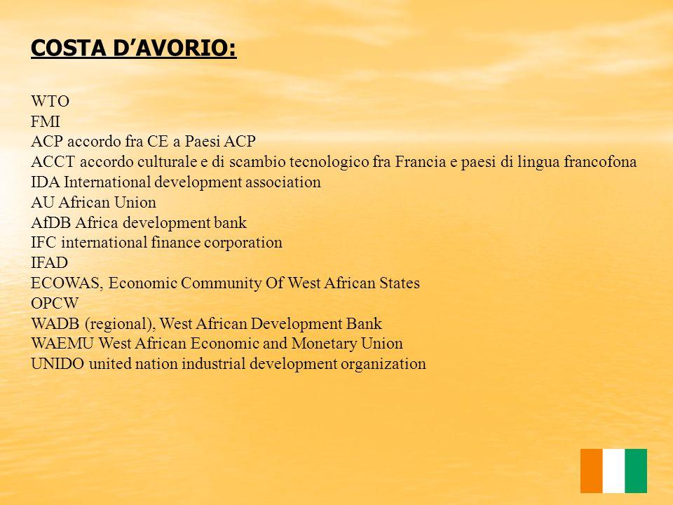COSTA D'AVORIO: WTO FMI ACP accordo fra CE a Paesi ACP