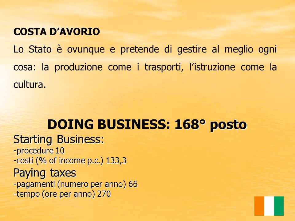 DOING BUSINESS: 168° posto