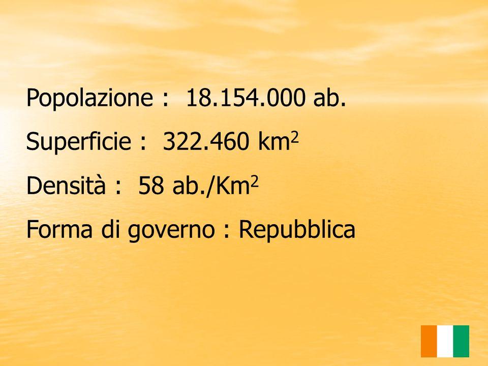 Popolazione : 18.154.000 ab. Superficie : 322.460 km2.