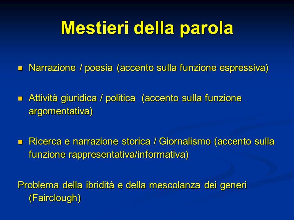 Mestieri della parola Narrazione / poesia (accento sulla funzione espressiva) Attività giuridica / politica (accento sulla funzione argomentativa)