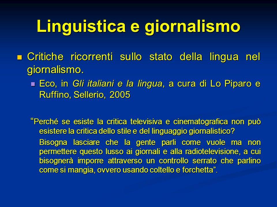 Linguistica e giornalismo