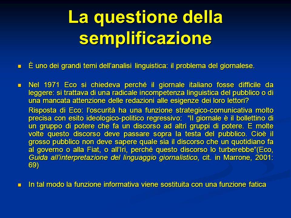 La questione della semplificazione